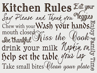 Bite Digital Art - Kitchen Rules IIi by Sd Graphics Studio