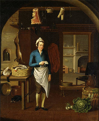 Interior Scene Painting - Kitchen Scene A Kitchen Signed And Dated In Black Paint by Litz Collection