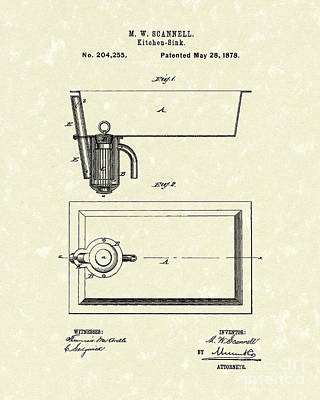Kitchen Sink 1878 Patent Art Art Print by Prior Art Design