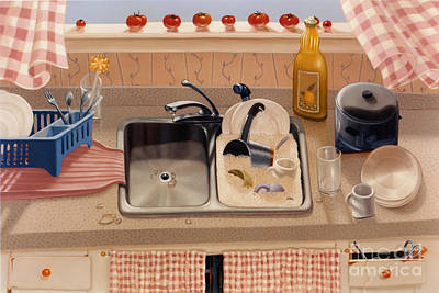 Sunk Painting - Kitchen Sink Bubba Lees 1997  Skewed Perspective Series 1991 - 2000 by Larry Preston
