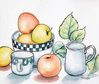 Kitchen Still Life Sketch Art Print by Inese Poga