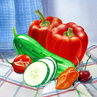 Bell Pepper Painting - Kitchen Still Life Sweet And Spicy  by Irina Sztukowski