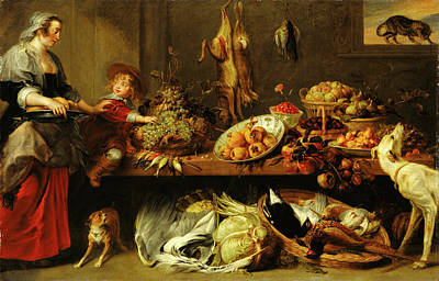 Frans Snyders Painting - Kitchen Still Life With A Maid And Young Boy Frans Snyders by Litz Collection