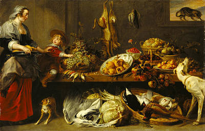 Frans Snyders Painting - Kitchen Still Life With A Maid And Young Boy by Frans Snyders