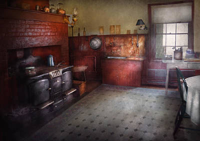Old Wood Burning Stove Photograph - Kitchen - Storybook Cottage Kitchen by Mike Savad