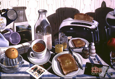 Preston Painting - Kitchen Table No.2 1994  Skewed Perspective Series 1991 - 2000 by Larry Preston