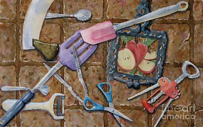 Cork Screw Painting - Kitchen Tools by Marisa Gabetta