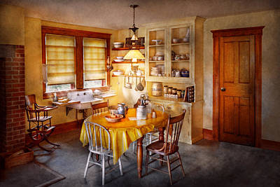 Kitchen - Typical Farm Kitchen  Art Print by Mike Savad