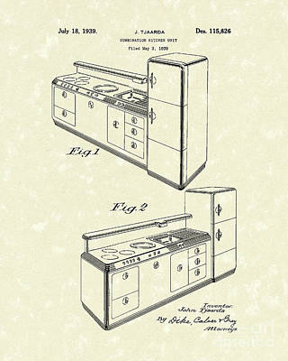 Drawing - Kitchen Unit 1939 Patent Art by Prior Art Design