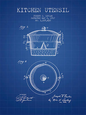 Kitchen Utensil Patent From 1917 - Blueprint Art Print by Aged Pixel
