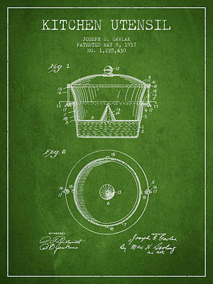 Kitchen Utensil Patent From 1917 - Green Art Print by Aged Pixel