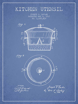 Kitchen Utensil Patent From 1917 - Light Blue Art Print by Aged Pixel
