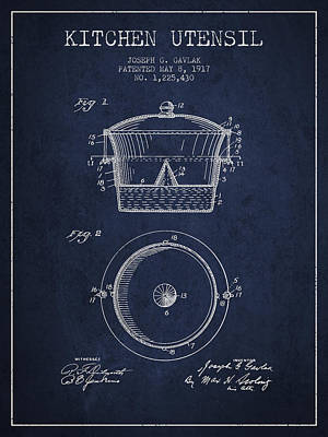 Kitchen Utensil Patent From 1917 - Navy Blue Art Print by Aged Pixel