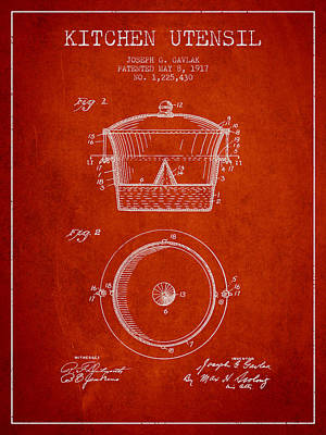 Kitchen Utensil Patent From 1917 - Red Art Print by Aged Pixel