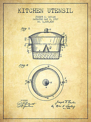 Kitchen Utensil Patent From 1917 - Vintage Art Print by Aged Pixel