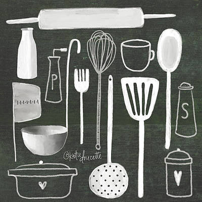 Utensil Painting - Kitchen Utensils by Katie Doucette