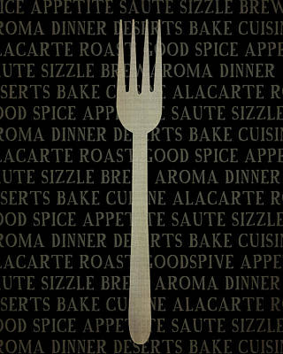 Utensil Painting - Kitchen Words With Fork by Amy Cummings