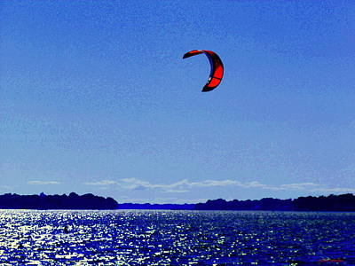 Summer Along The Canal Painting - Kite Boarding The Wind Swept Waters Of The St Lawrence Quebec Seascape Scenes Carole Spandau by Carole Spandau