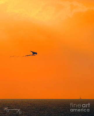 Photograph - Kite-flying At Sunset by Mariarosa Rockefeller