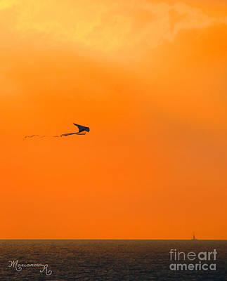 Kite-flying At Sunset Art Print