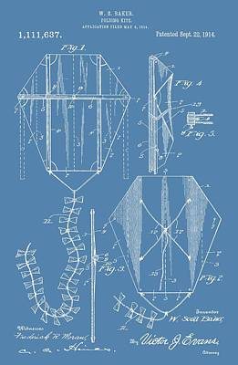 Kites Digital Art - Kite Patent On Blue by Dan Sproul