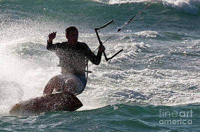 Kite Surfer 01 Art Print by Rick Piper Photography