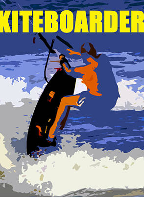 Wind Surfing Art Painting - kITEBOARDER smart phone art by David Lee Thompson