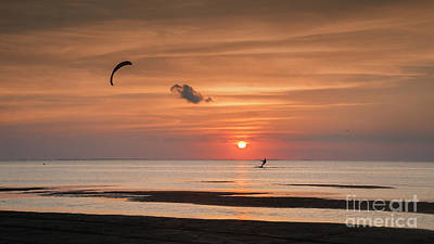 Kiteboarding At Sunset Art Print by Tammy Smith