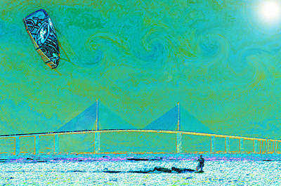 Wind Surfing Art Painting - Kiteboarding The Bay by David Lee Thompson