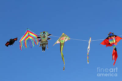 Kites Flying High In The Sky Blue 2 Art Print by Federico Candoni