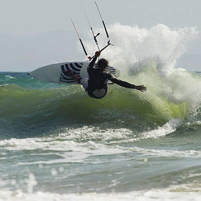 Bravado Photograph - Kitesurfer Catching A Wave by Ben Welsh