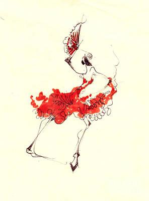 Dance Drawing - Kitri Or Spanish Dancer by Lousine Hogtanian