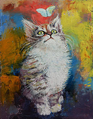 Kitten And Butterfly Print by Michael Creese