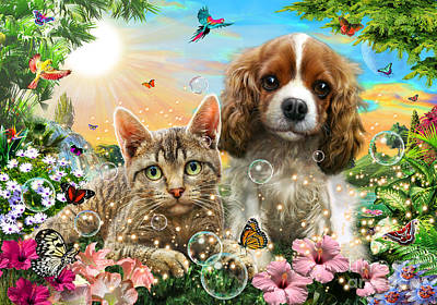Cocker Spaniel Wall Art - Digital Art - Kitten And Puppy by Adrian Chesterman