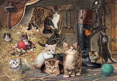 Kitten Capers Art Print by Steve Read
