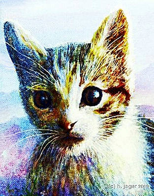 Art Print featuring the painting Kitten  Close by Hartmut Jager