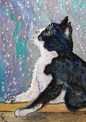 Art Print featuring the painting Kitten In The Window by Ella Kaye Dickey