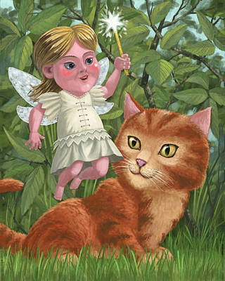 Kitten With Girl Fairy In Garden Art Print