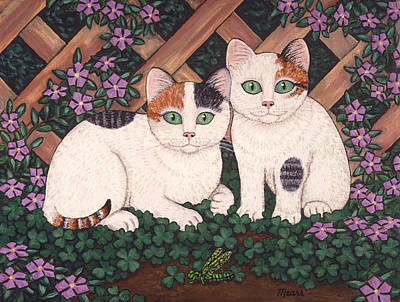 Kittens And Clover Art Print