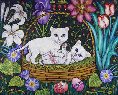 Twins Painting - Kittens In A Basket by Linda Mears