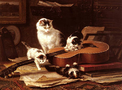 Kittens Playing With A Guitar Art Print by Henriette Ronner Knip