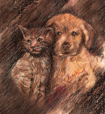 Painting - Kitten And Golden Retriever Pup by Remy Francis