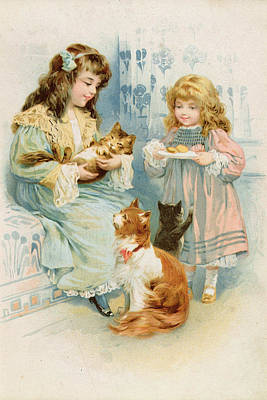 Kitty Drawing - Kittens Tea Party  by Anonymous