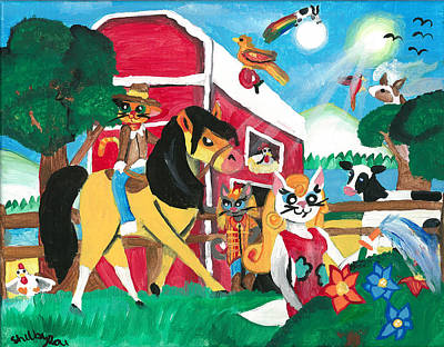 Shelby Painting - Kittie On The Farm by Artists With Autism Inc
