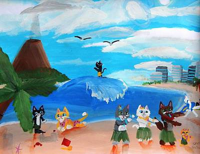 Shelby Painting - Kitties In Hawaii by Artists With Autism Inc