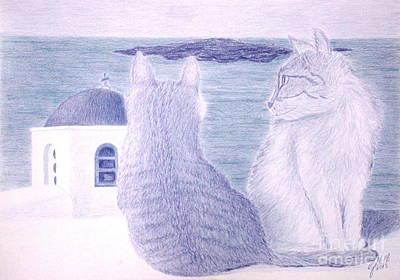 Wall Art - Pastel - Kitties In Santorini by Cybele Chaves