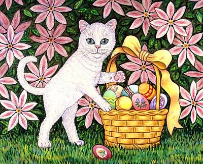 Kittens Painting - Kitten And Easter Basket by Linda Mears