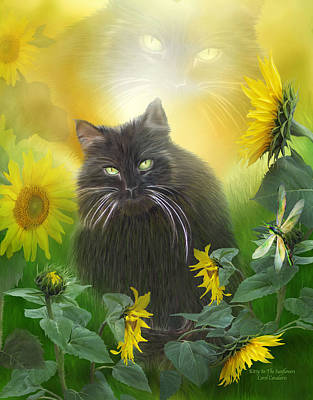 Dragonflies Mixed Media - Kitty In The Sunflowers by Carol Cavalaris