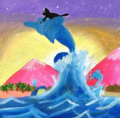 Kitty On A Dolphin Art Print by Artists With Autism Inc