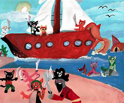 Shelby Painting - Kitty Pirates by Artists With Autism Inc